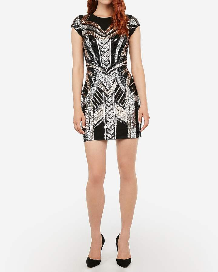 Express Sequin Embellished Cap Sleeve Bodycon Dress