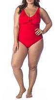 Lauren Ralph Lauren Plus Beach Club Solids Ruffled Shirred Underwire One-Piece