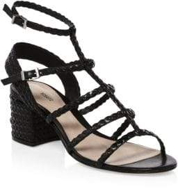 Schutz Women's Clarcie Braided Block Heel Sandals - Black - Size 5.5