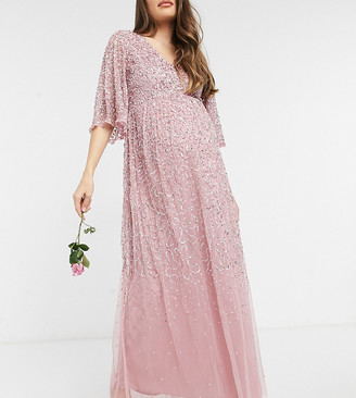 Maya Maternity Bridesmaid plunge front flutter sleeve delicate sequin maxi dress in pink