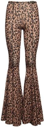 Versace Leo Print Flared Stretch Jersey Pants