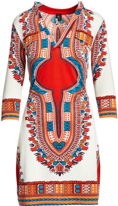 Modern Touch Women's Casual Dresses - Red & White Geometric Three-Quarter Sleeve Dress - Women