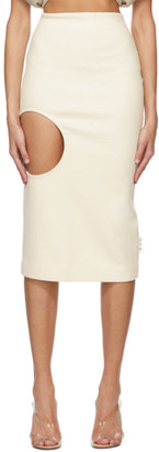 Off-White Wool Open Circle Skirt