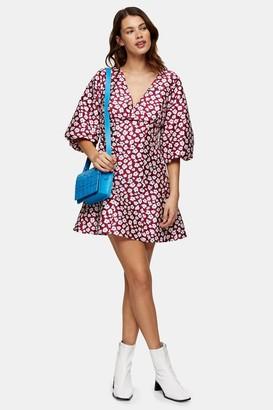 Topshop Daisy Floral Print Puff Mini Dress