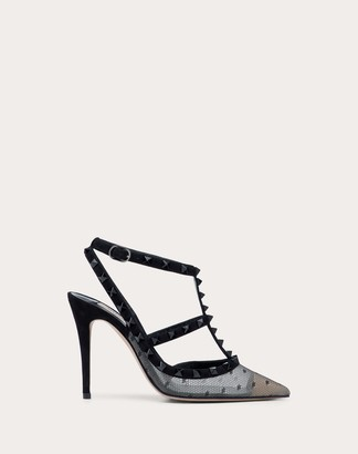 Valentino Garavani Rockstud Lace Pump With Straps 100 Mm Women Black Viscose 9% 39.5