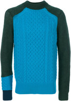 Sacai cable knit panelled jumper