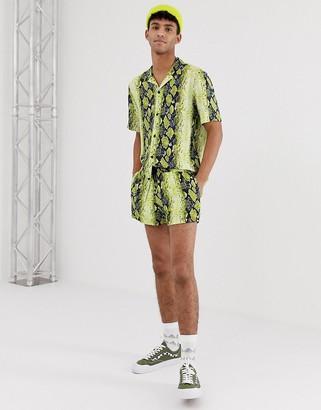 Jaded London festival co-ord shorts in yellow snakeskin print