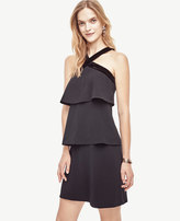 Ann Taylor Petite Velvet Trim Tiered Halter Dress