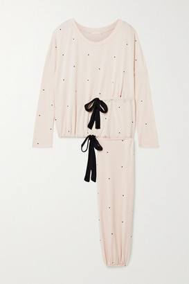 Eberjey Slouchy Polka-dot Stretch-modal Jersey Pajama Set - Blush