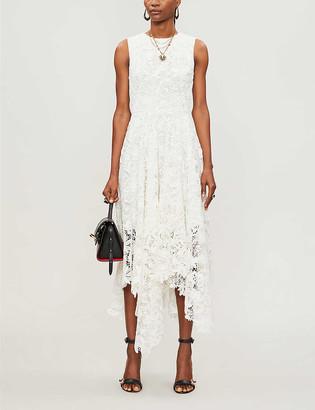 Alexander McQueen Floral-pattern asymmetric-hem cotton-blend midi dress