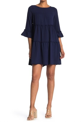Gabby Skye Bell Sleeve Tiered Shift Dress