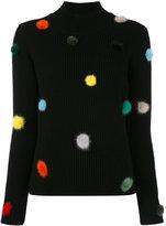 Fendi knit pom pom top - women - Mink Fur/Cashmere - 40