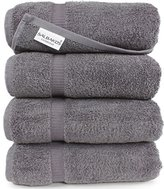 "Turkish Luxury Hotel & Spa 27""x54"" Bath Towel Set of 4 Cotton From Turkey - 700gsm Eco-friendly (Bath Towels, Gray)"