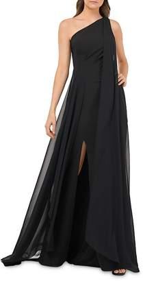 Carmen Marc Valvo One-Shoulder Crepe Gown