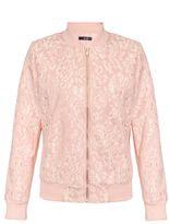 Quiz Pale Pink Lace Bomber Jacket