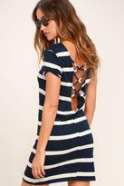 Billabong Sunset View Navy Blue Striped Shirt Dress