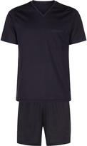 Statement V-Neck Top And Shorts Pyjama Set In Lisle Jersey
