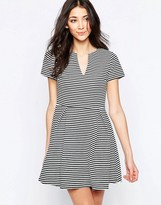 Wal G Skater Dress With Open Neck In Stripe