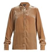 Rochas Point-collar velvet shirt