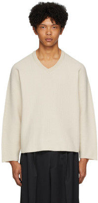Issey Miyake Homme Plisse Off-White Rustic V-Neck Sweater