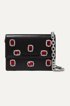 Prada Jewel Small Crystal-embellished Leather Shoulder Bag - Black