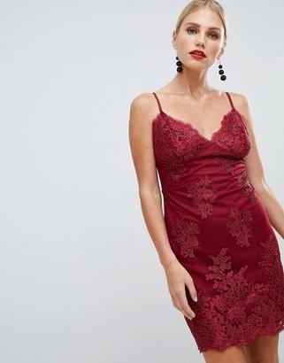 City Goddess scalloped edge lace mini dress-Red