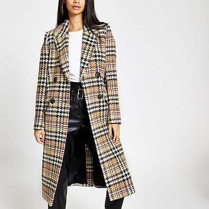 River Island Brown check double-breasted longline coat