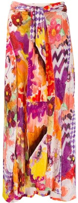 John Galliano Pre-Owned 1990s Floral Flared Midi Skirt