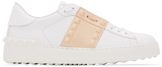 Valentino White and Beige Garavani Rockstud Untitled Open Sneakers