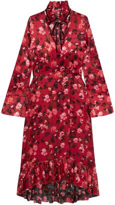 Mother of Pearl Adelaide Ruffled Floral-print Velvet-trimmed Silk-charmeuse Dress