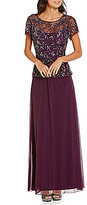 Pisarro Nights Petite Floral-Beaded Mock 2-Piece Gown