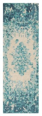 """Company C Looking Glass Abstract Handmade Tufted Blue/Beige Area Rug CompanyC Rug Size: Runner 2'6"""" x 8'"""