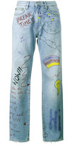 Mira Mikati hand painted doodle jeans - women - Cotton - 36