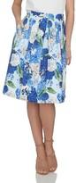 CeCe Women's Hydrangea Print Pleat Skirt