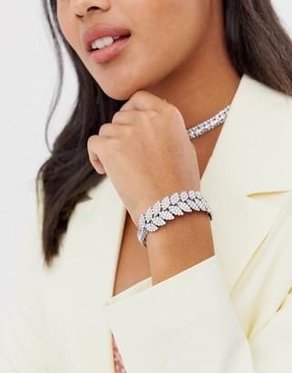 True Decadence leaf cuff bracelet in silver rhinestone