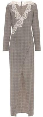 La Perla Lace-trimmed Houndstooth Stretch-silk Robe