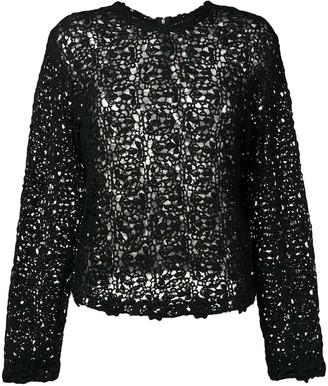 Comme Des Garçons Pre Owned Crochet Long Sleeved Blouse