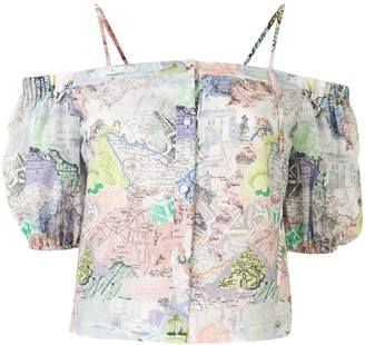 PortsPURE Off-Shoulder Map Print Blouse