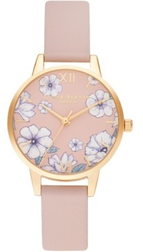 Olivia Burton Women's Groovy Blooms Candy Pink Vegan Leather Strap Watch 30mm