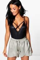 boohoo Sarah Satin Split Front Tassel Trim Shorts