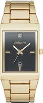 Claiborne Mens Rectangular Gold-Tone Strap Watch