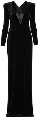 Giorgio Armani Stretch Velvet Long Sleeve V-neck Gown