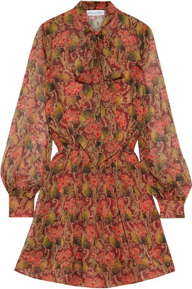 Oscar de la Renta Pussy-bow Pleated Floral-print Silk-chiffon Mini Dress