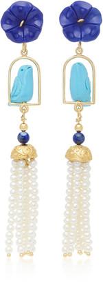 OF RARE ORIGIN Swingers 18K Yellow Gold Vermeil Lapis Turquoise and Pearl Earrings
