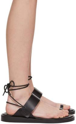 Ann Demeulemeester SSENSE Exclusive Black Lace-Up Flat Sandals