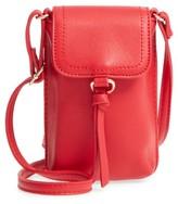 BP Tassel Faux Leather Phone Crossbody Bag - Red