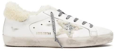 Golden Goose Superstar Shearling Trimmed Leather Trainers - Womens - Cream White