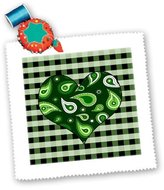 3dRose LLC qs_25357_3 Janna Salak Designs Prints and Patterns - Green Paisley Heart on Green and White Check - Quilt Squares
