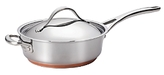 Anolon Nouvelle Stainless Steel 3-Quart Covered Saute Pan with Helper Handle