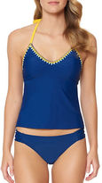 Jessica Simpson Woodstock Solids Halterneck Lace-Up Tankini Top